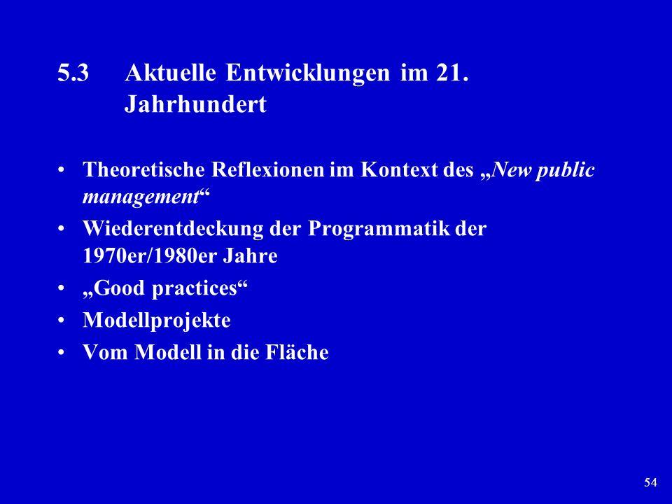 54 5.3Aktuelle Entwicklungen im 21. Jahrhundert Theoretische Reflexionen im Kontext des New public management Wiederentdeckung der Programmatik der 19
