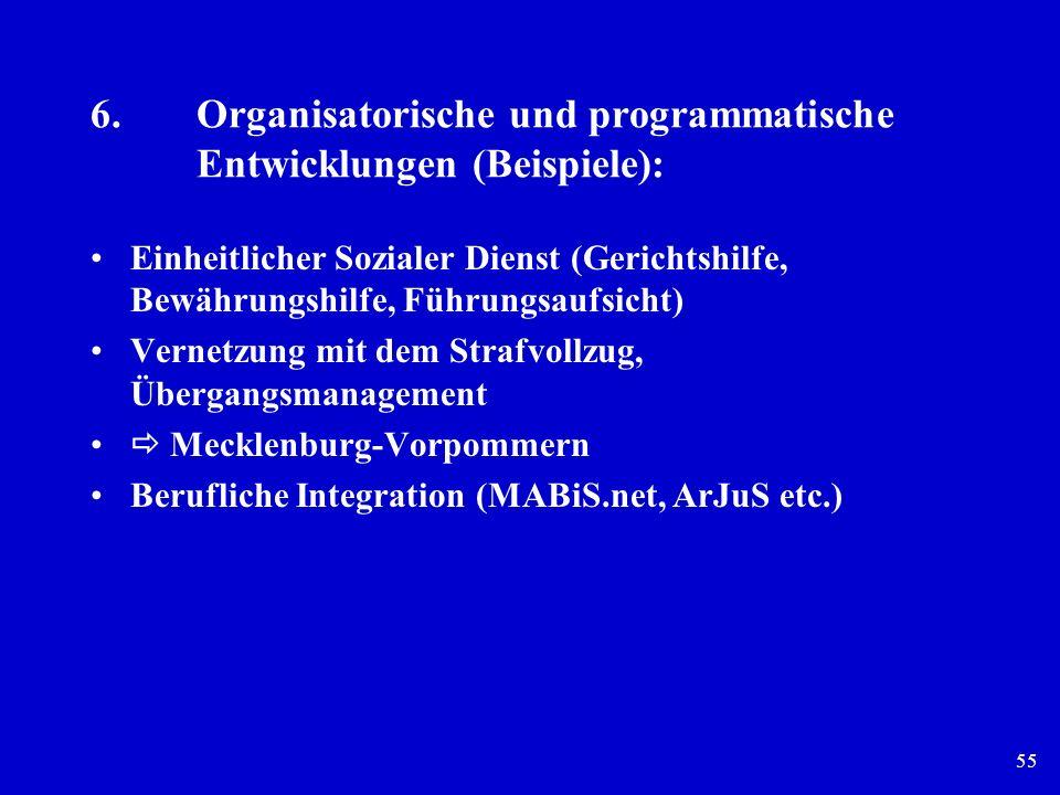 55 6.Organisatorische und programmatische Entwicklungen (Beispiele): Einheitlicher Sozialer Dienst (Gerichtshilfe, Bewährungshilfe, Führungsaufsicht)