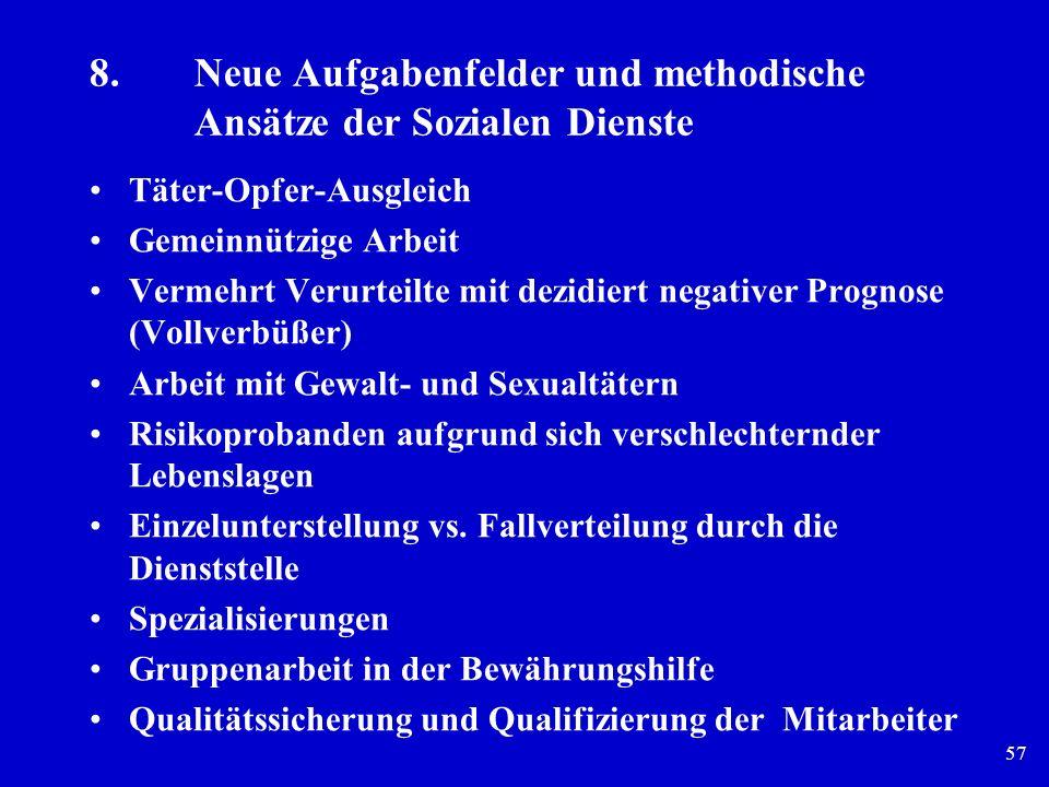 57 8.Neue Aufgabenfelder und methodische Ansätze der Sozialen Dienste Täter-Opfer-Ausgleich Gemeinnützige Arbeit Vermehrt Verurteilte mit dezidiert ne