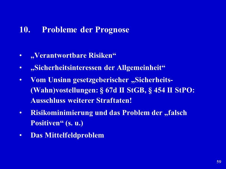 59 10.Probleme der Prognose Verantwortbare Risiken Sicherheitsinteressen der Allgemeinheit Vom Unsinn gesetzgeberischer Sicherheits- (Wahn)vostellunge