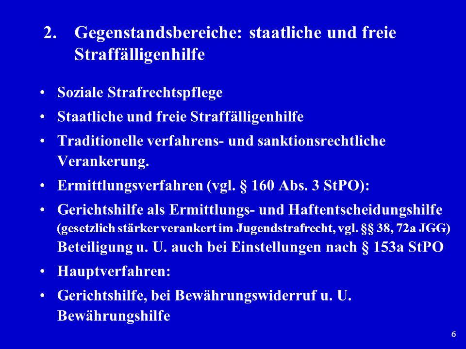 6 2.Gegenstandsbereiche: staatliche und freie Straffälligenhilfe Soziale Strafrechtspflege Staatliche und freie Straffälligenhilfe Traditionelle verfa