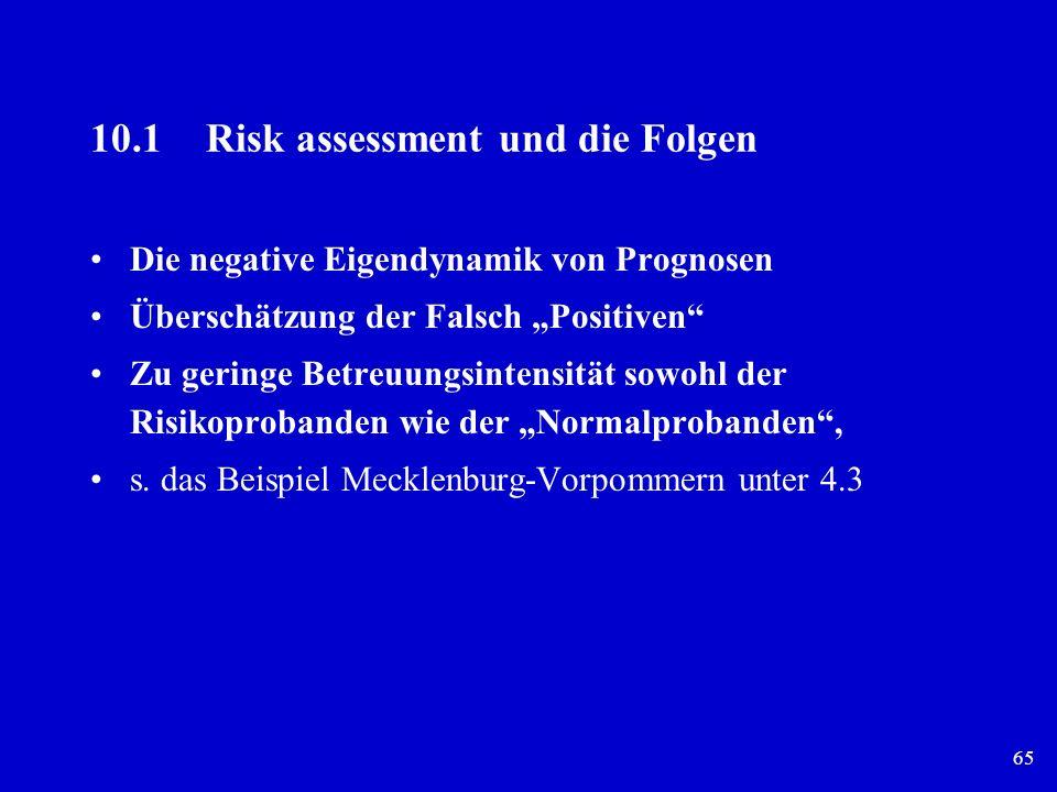 65 10.1 Risk assessment und die Folgen Die negative Eigendynamik von Prognosen Überschätzung der Falsch Positiven Zu geringe Betreuungsintensität sowo