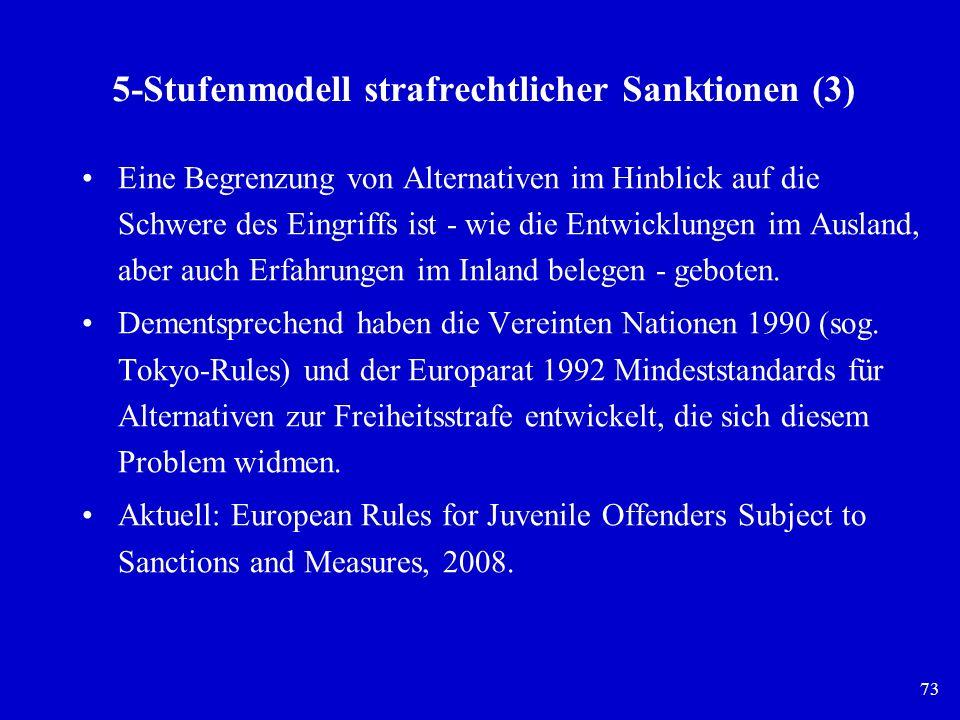 73 5-Stufenmodell strafrechtlicher Sanktionen (3) Eine Begrenzung von Alternativen im Hinblick auf die Schwere des Eingriffs ist - wie die Entwicklung