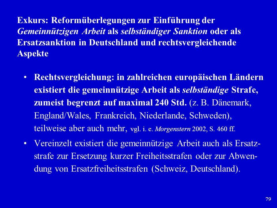 79 Exkurs: Reformüberlegungen zur Einführung der Gemeinnützigen Arbeit als selbständiger Sanktion oder als Ersatzsanktion in Deutschland und rechtsver