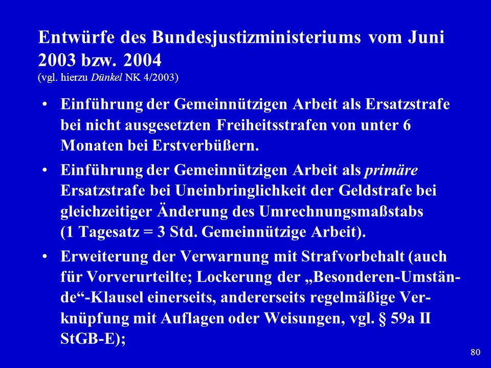 80 Entwürfe des Bundesjustizministeriums vom Juni 2003 bzw. 2004 (vgl. hierzu Dünkel NK 4/2003) Einführung der Gemeinnützigen Arbeit als Ersatzstrafe