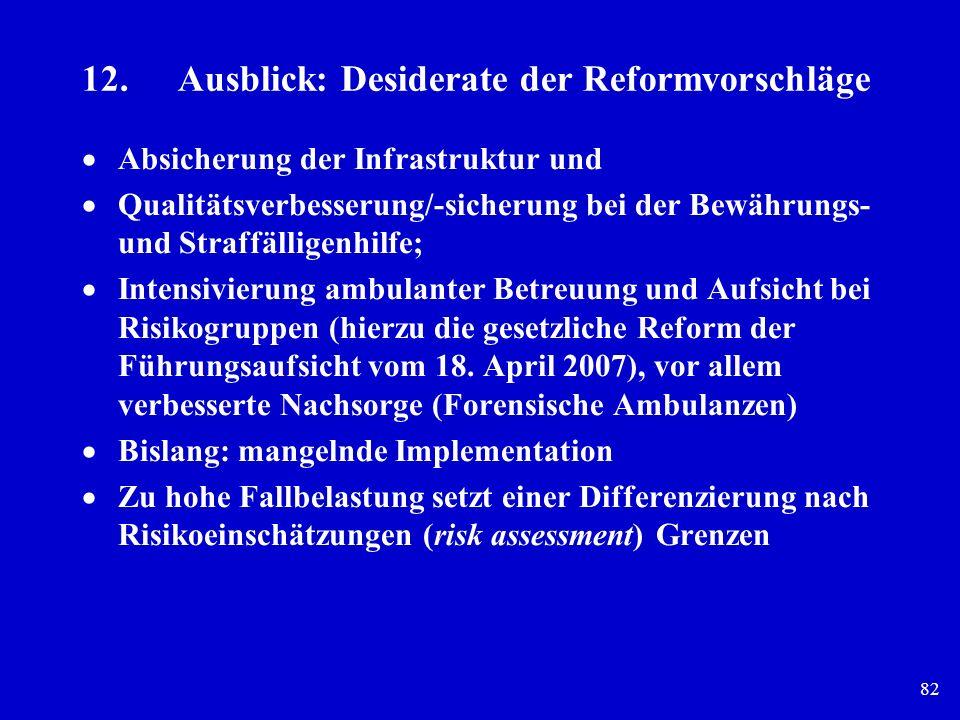 82 12. Ausblick: Desiderate der Reformvorschläge Absicherung der Infrastruktur und Qualitätsverbesserung/-sicherung bei der Bewährungs- und Straffälli