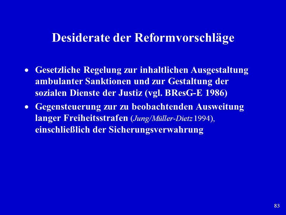 83 Desiderate der Reformvorschläge Gesetzliche Regelung zur inhaltlichen Ausgestaltung ambulanter Sanktionen und zur Gestaltung der sozialen Dienste d