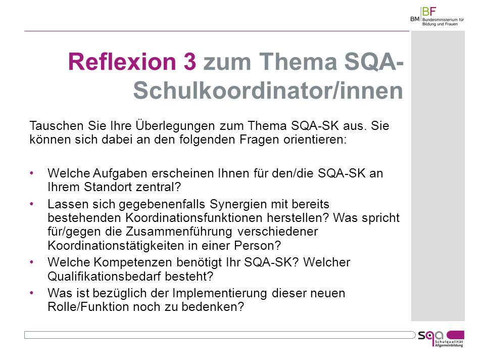 Reflexion 3 zum Thema SQA- Schulkoordinator/innen Tauschen Sie Ihre Überlegungen zum Thema SQA-SK aus.