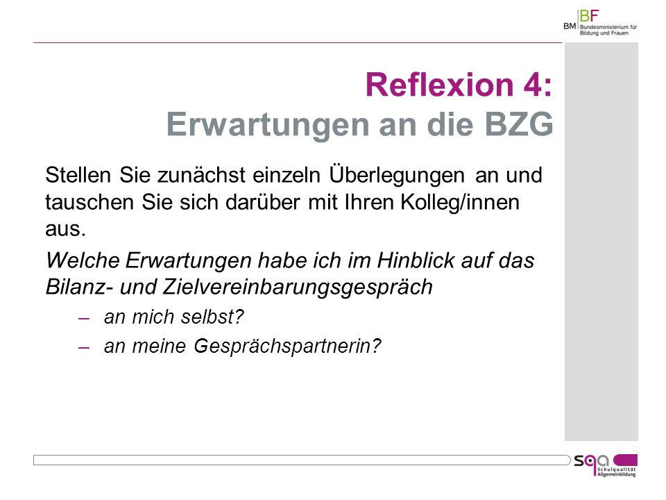 Reflexion 4: Erwartungen an die BZG Stellen Sie zunächst einzeln Überlegungen an und tauschen Sie sich darüber mit Ihren Kolleg/innen aus.