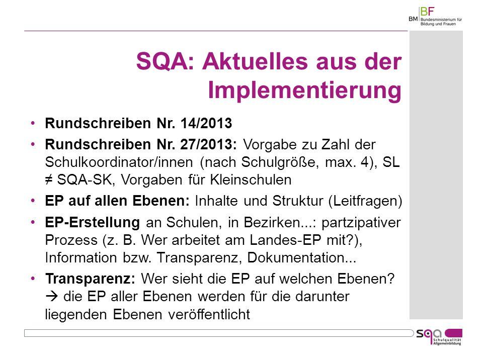SQA: Aktuelles aus der Implementierung Rundschreiben Nr.