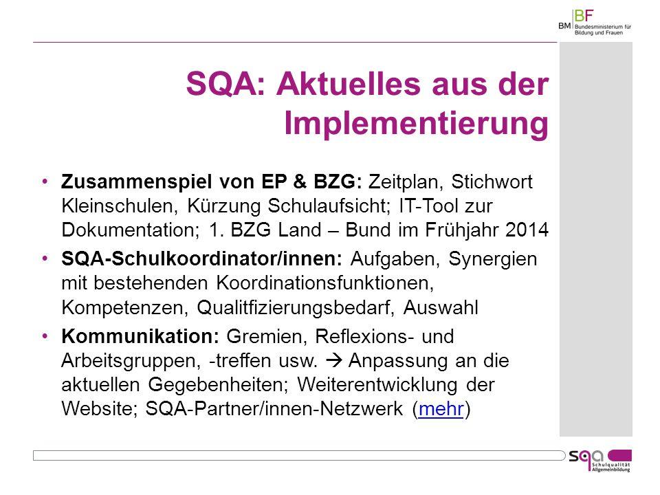 SQA: Aktuelles aus der Implementierung Zusammenspiel von EP & BZG: Zeitplan, Stichwort Kleinschulen, Kürzung Schulaufsicht; IT-Tool zur Dokumentation; 1.