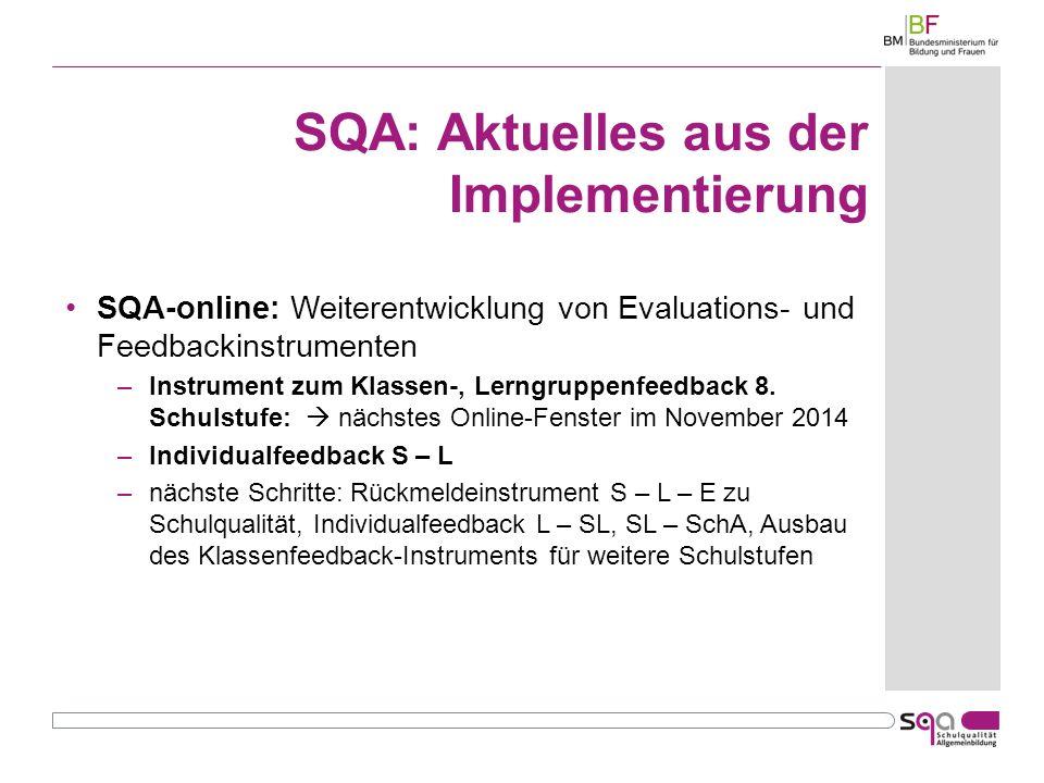 SQA: Aktuelles aus der Implementierung SQA-online: Weiterentwicklung von Evaluations- und Feedbackinstrumenten –Instrument zum Klassen-, Lerngruppenfeedback 8.