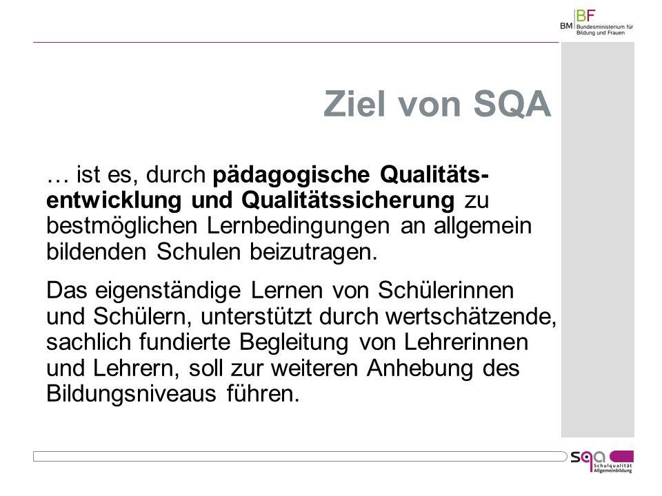 Ziel von SQA … ist es, durch pädagogische Qualitäts- entwicklung und Qualitätssicherung zu bestmöglichen Lernbedingungen an allgemein bildenden Schulen beizutragen.