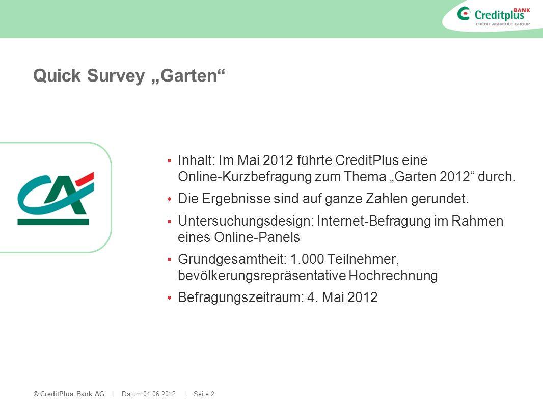 © CreditPlus Bank AG | Datum 04.06.2012 | Seite 2 Quick Survey Garten Inhalt: Im Mai 2012 führte CreditPlus eine Online-Kurzbefragung zum Thema Garten