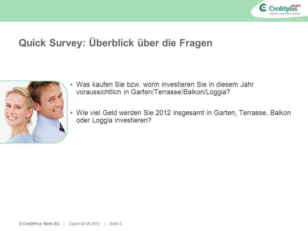 © CreditPlus Bank AG | Datum 04.06.2012 | Seite 3 Quick Survey: Überblick über die Fragen Was kaufen Sie bzw. worin investieren Sie in diesem Jahr vor
