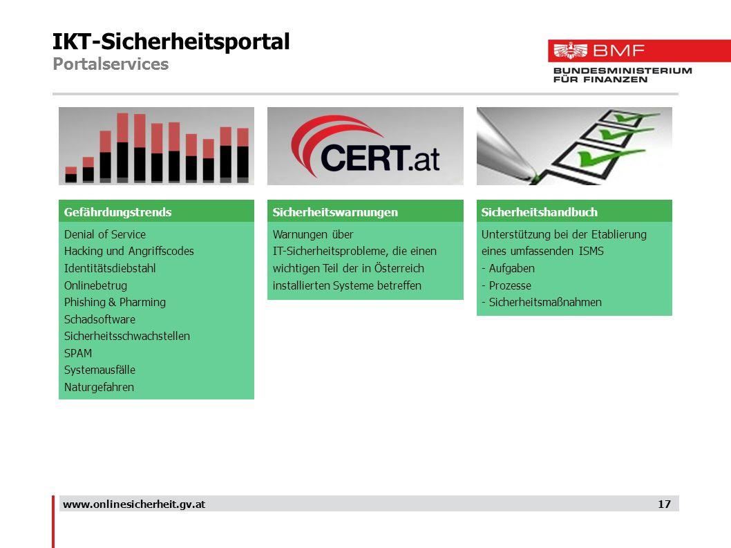 IKT-Sicherheitsportal Portalservices 17www.onlinesicherheit.gv.at Denial of Service Hacking und Angriffscodes Identitätsdiebstahl Onlinebetrug Phishin