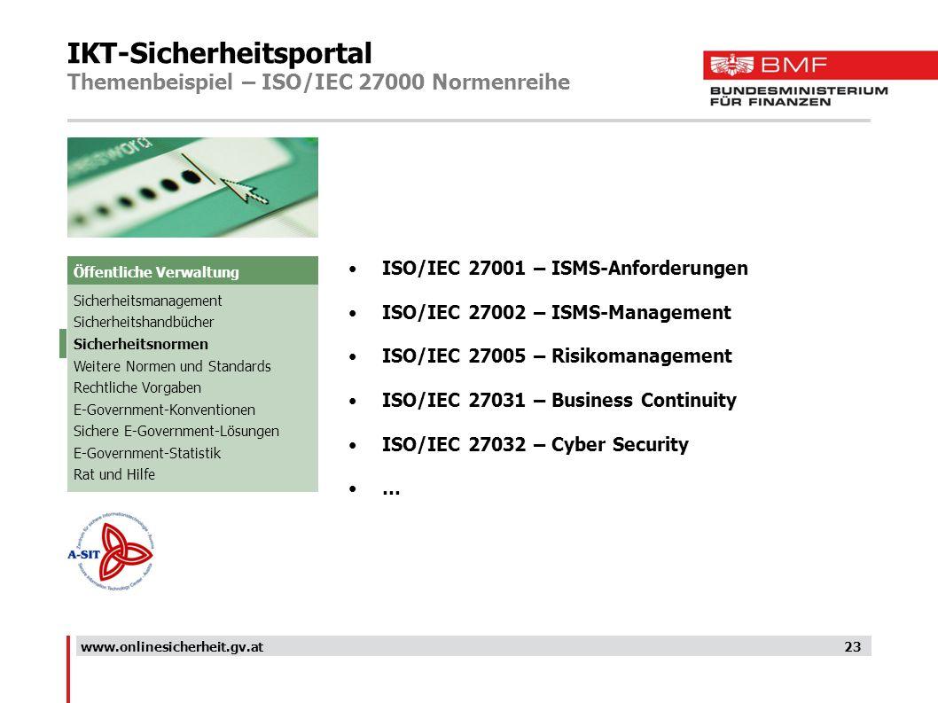 IKT-Sicherheitsportal Themenbeispiel – ISO/IEC 27000 Normenreihe 23 ISO/IEC 27001 – ISMS-Anforderungen ISO/IEC 27002 – ISMS-Management ISO/IEC 27005 –