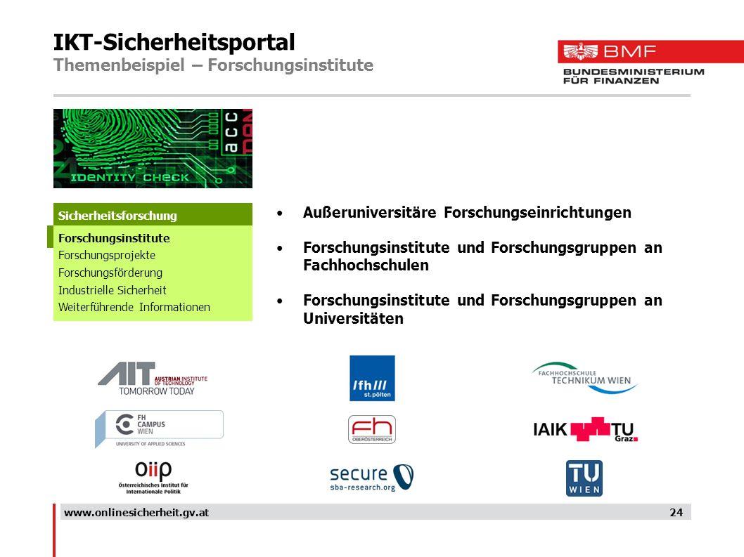 IKT-Sicherheitsportal Themenbeispiel – Forschungsinstitute 24 Außeruniversitäre Forschungseinrichtungen Forschungsinstitute und Forschungsgruppen an F