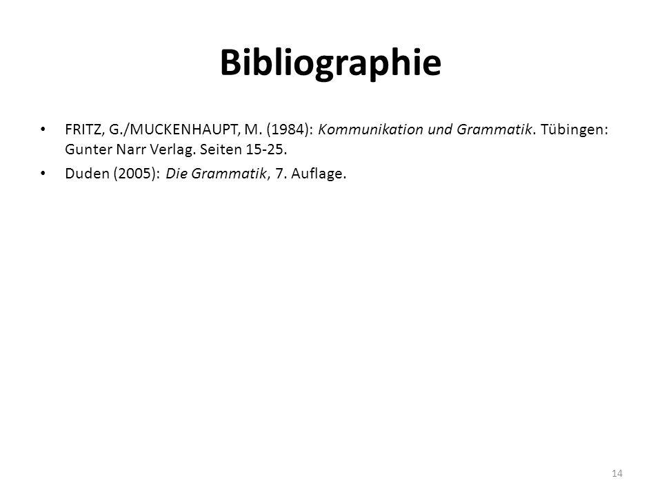 Bibliographie FRITZ, G./MUCKENHAUPT, M. (1984): Kommunikation und Grammatik. Tübingen: Gunter Narr Verlag. Seiten 15-25. Duden (2005): Die Grammatik,