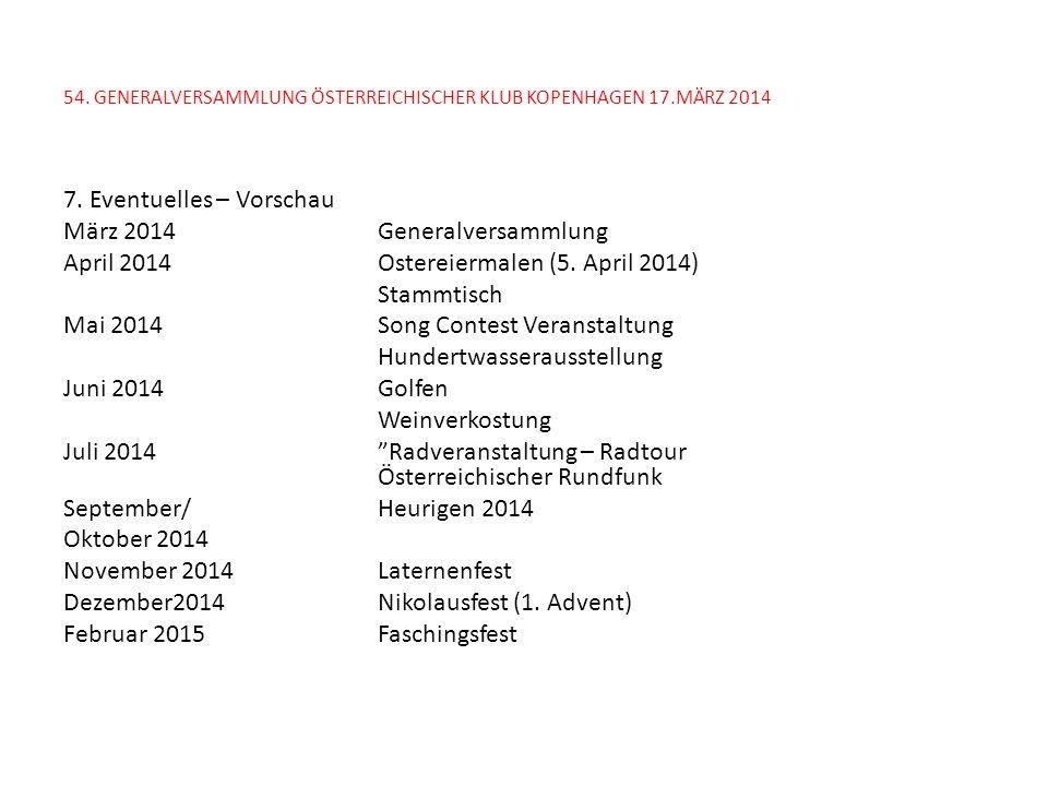 54. GENERALVERSAMMLUNG ÖSTERREICHISCHER KLUB KOPENHAGEN 17.MÄRZ 2014 7. Eventuelles – Vorschau März 2014Generalversammlung April 2014Ostereiermalen (5