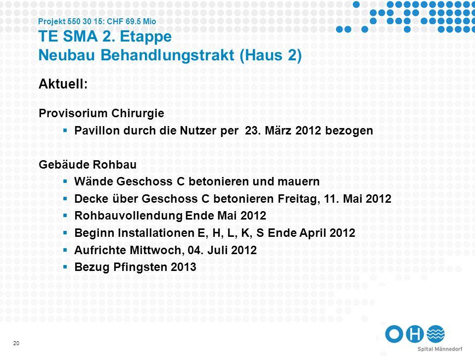 21 Projekt 550 30 15: CHF 69.5 Mio TE SMA 2. Etappe Neubau Behandlungstrakt (Haus 2)