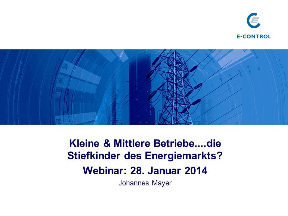 Kleine & Mittlere Betriebe....die Stiefkinder des Energiemarkts? Webinar: 28. Januar 2014 Johannes Mayer