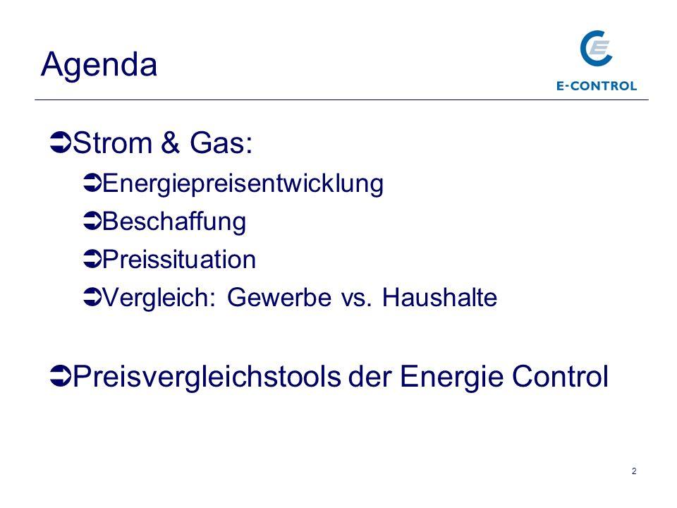 Agenda Strom & Gas: Energiepreisentwicklung Beschaffung Preissituation Vergleich: Gewerbe vs. Haushalte Preisvergleichstools der Energie Control 2