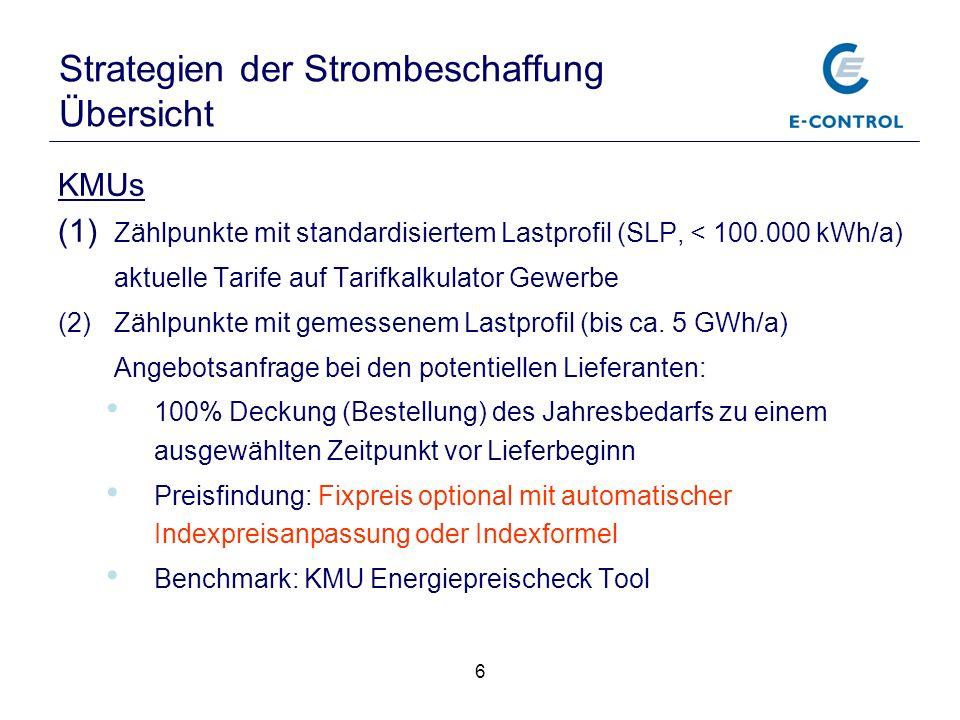 6 KMUs (1) Zählpunkte mit standardisiertem Lastprofil (SLP, < 100.000 kWh/a) aktuelle Tarife auf Tarifkalkulator Gewerbe (2)Zählpunkte mit gemessenem