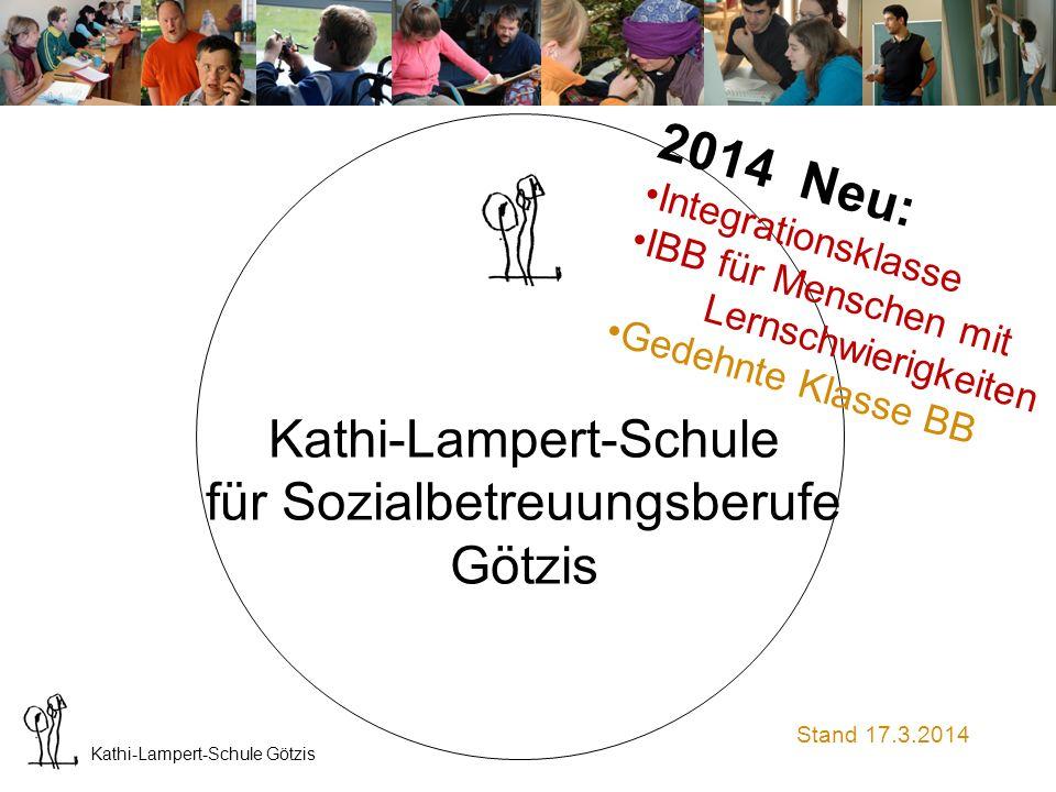 Kathi-Lampert-Schule Götzis Aktuelle Information über unsere Ausbildung ab Herbst 2014 17.3.2014 Die geplante Ausbildungsform mit integrierter Pflegehilfe- Ausbildung wird aus organisatorischen Gründen verschoben.
