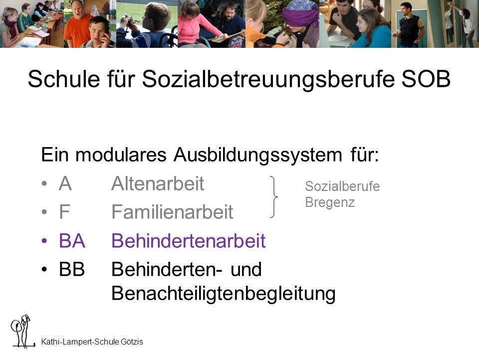 Kathi-Lampert-Schule Götzis Die Kathi-Lampert-Schule führt bisher generell Formen für Berufstätige (ab 19 Jahren) Schule für Sozialbetreuungsberufe SOB