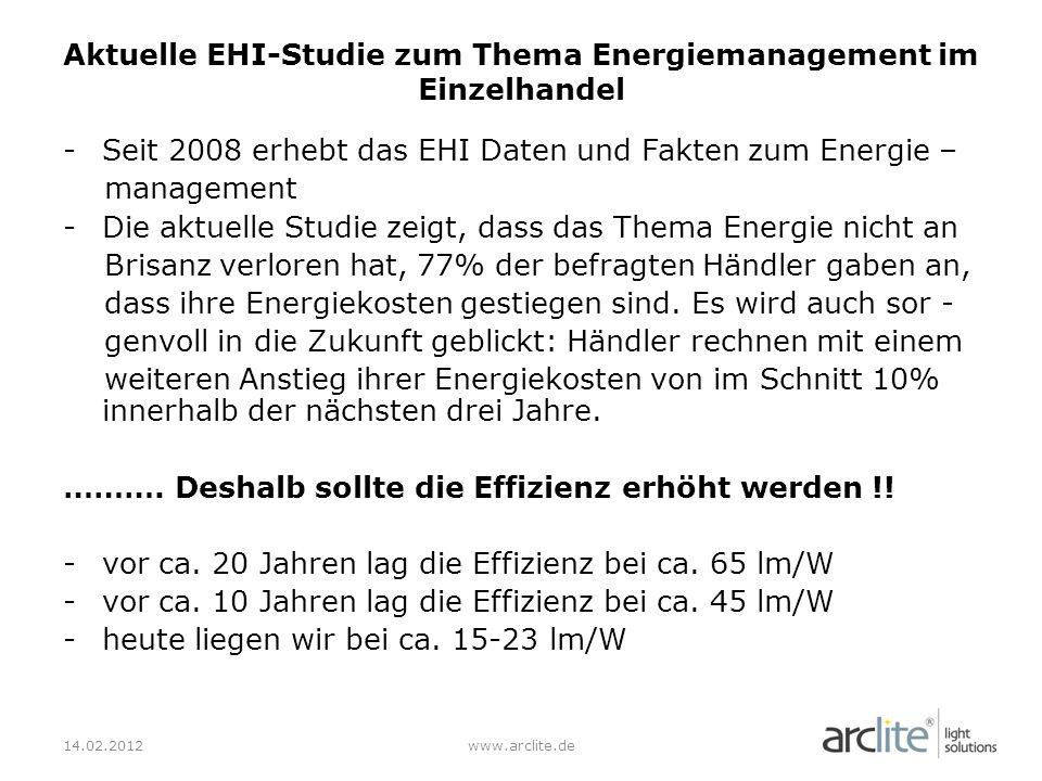-Seit 2008 erhebt das EHI Daten und Fakten zum Energie – management -Die aktuelle Studie zeigt, dass das Thema Energie nicht an Brisanz verloren hat, 77% der befragten Händler gaben an, dass ihre Energiekosten gestiegen sind.