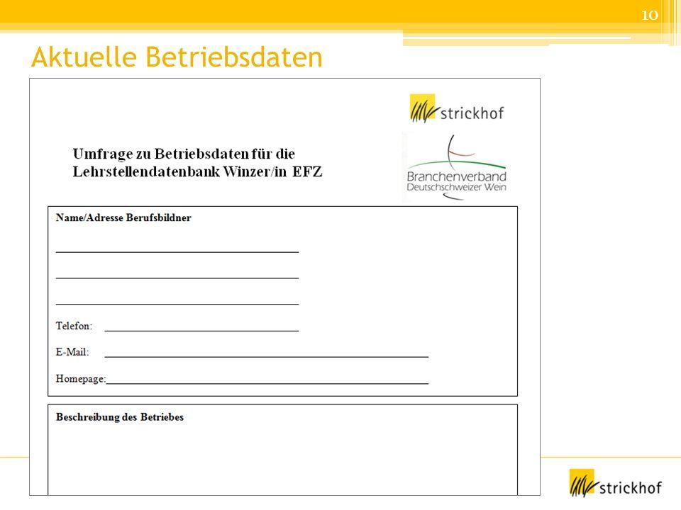 Lehrmeistertagung Winzer, 4.2.2014 Daniela Brand, Strickhof Aktuelle Betriebsdaten 10