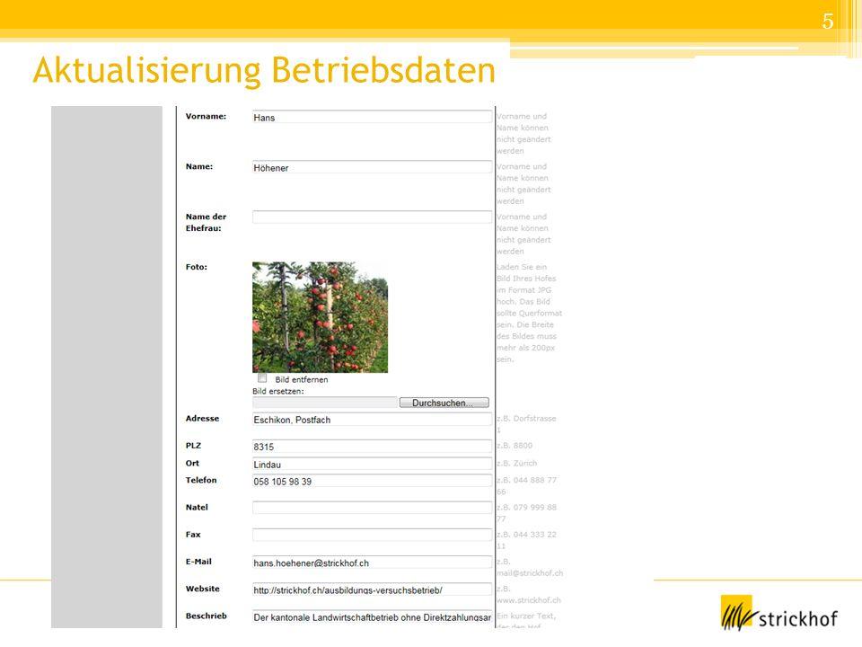 Lehrmeistertagung Winzer, 4.2.2014 Daniela Brand, Strickhof Aktualisierung Betriebsdaten 5