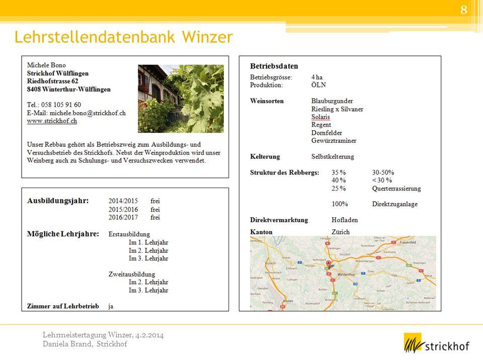 Lehrmeistertagung Winzer, 4.2.2014 Daniela Brand, Strickhof Lehrstellendatenbank Winzer 8