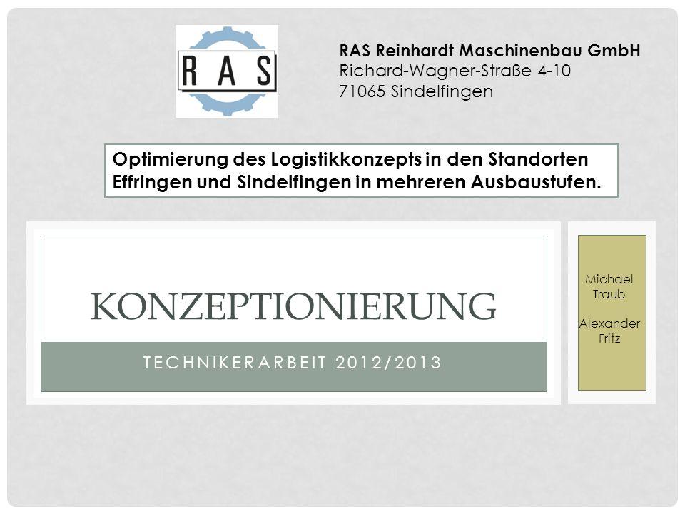 TECHNIKERARBEIT 2012/2013 KONZEPTIONIERUNG Michael Traub Alexander Fritz Optimierung des Logistikkonzepts in den Standorten Effringen und Sindelfingen in mehreren Ausbaustufen.