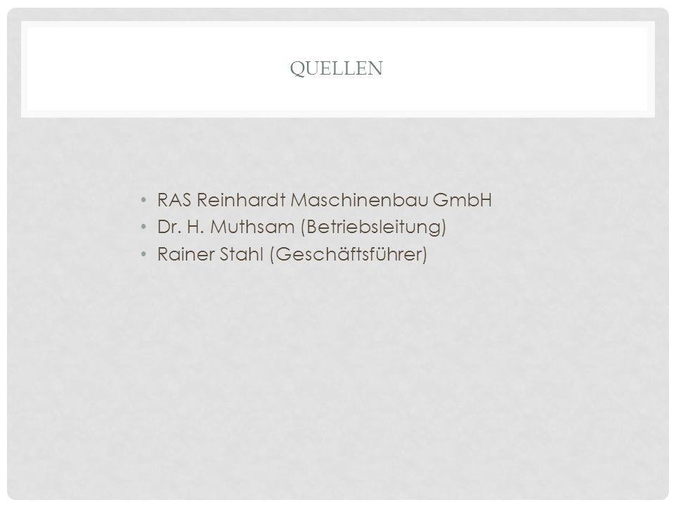 QUELLEN RAS Reinhardt Maschinenbau GmbH Dr. H. Muthsam (Betriebsleitung) Rainer Stahl (Geschäftsführer)