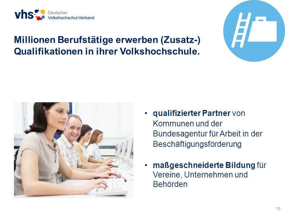 10 Millionen Berufstätige erwerben (Zusatz-) Qualifikationen in ihrer Volkshochschule. qualifizierter Partner von Kommunen und der Bundesagentur für A