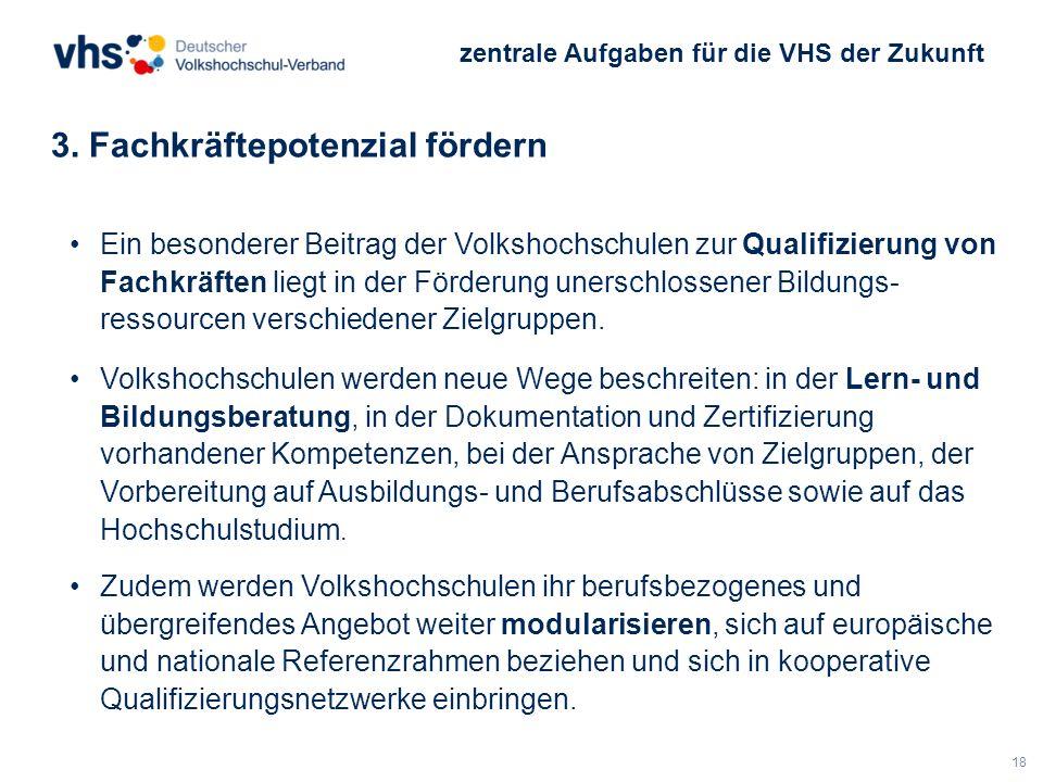 18 3. Fachkräftepotenzial fördern zentrale Aufgaben für die VHS der Zukunft Ein besonderer Beitrag der Volkshochschulen zur Qualifizierung von Fachkrä