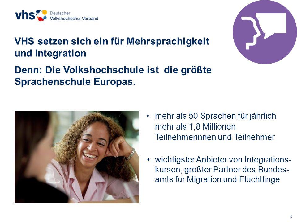 8 VHS setzen sich ein für Mehrsprachigkeit und Integration Denn: Die Volkshochschule ist die größte Sprachenschule Europas. mehr als 50 Sprachen für j