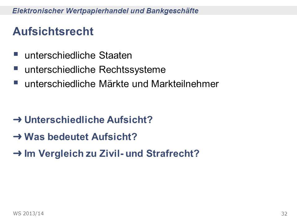 32 Elektronischer Wertpapierhandel und Bankgeschäfte WS 2013/14 Aufsichtsrecht unterschiedliche Staaten unterschiedliche Rechtssysteme unterschiedlich