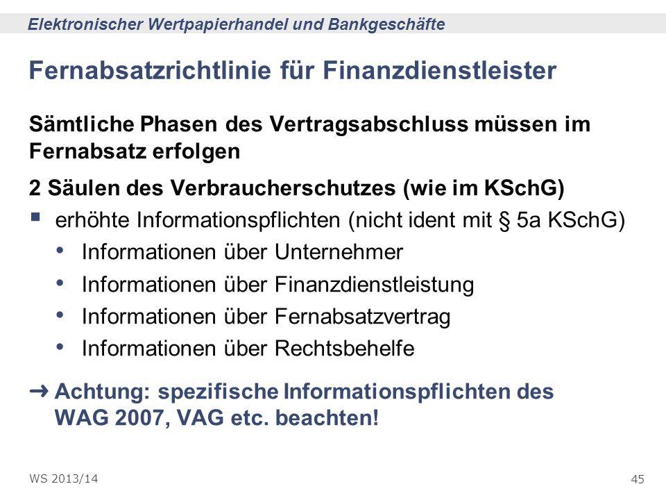 45 Elektronischer Wertpapierhandel und Bankgeschäfte WS 2013/14 Fernabsatzrichtlinie für Finanzdienstleister Sämtliche Phasen des Vertragsabschluss mü