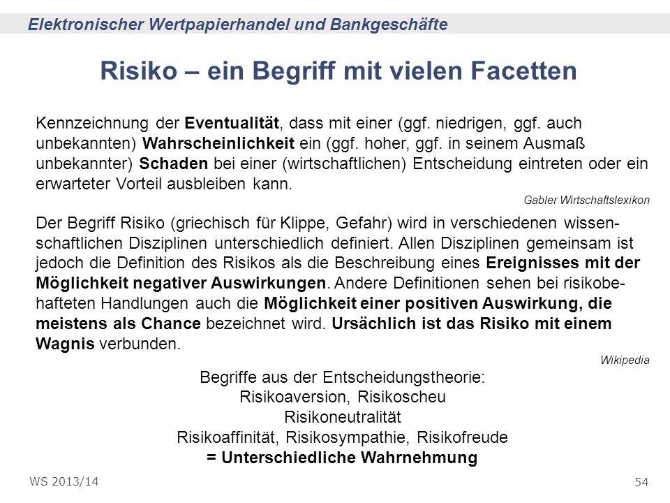 54 Elektronischer Wertpapierhandel und Bankgeschäfte WS 2013/14 Risiko – ein Begriff mit vielen Facetten Kennzeichnung der Eventualität, dass mit eine