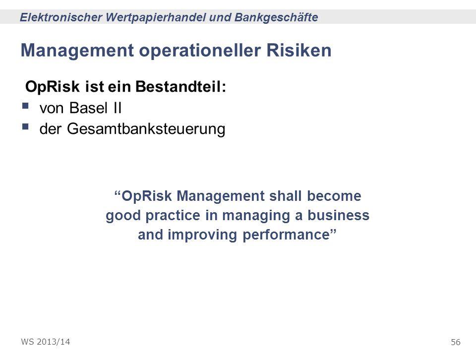 56 Elektronischer Wertpapierhandel und Bankgeschäfte WS 2013/14 Management operationeller Risiken OpRisk ist ein Bestandteil: von Basel II der Gesamtb