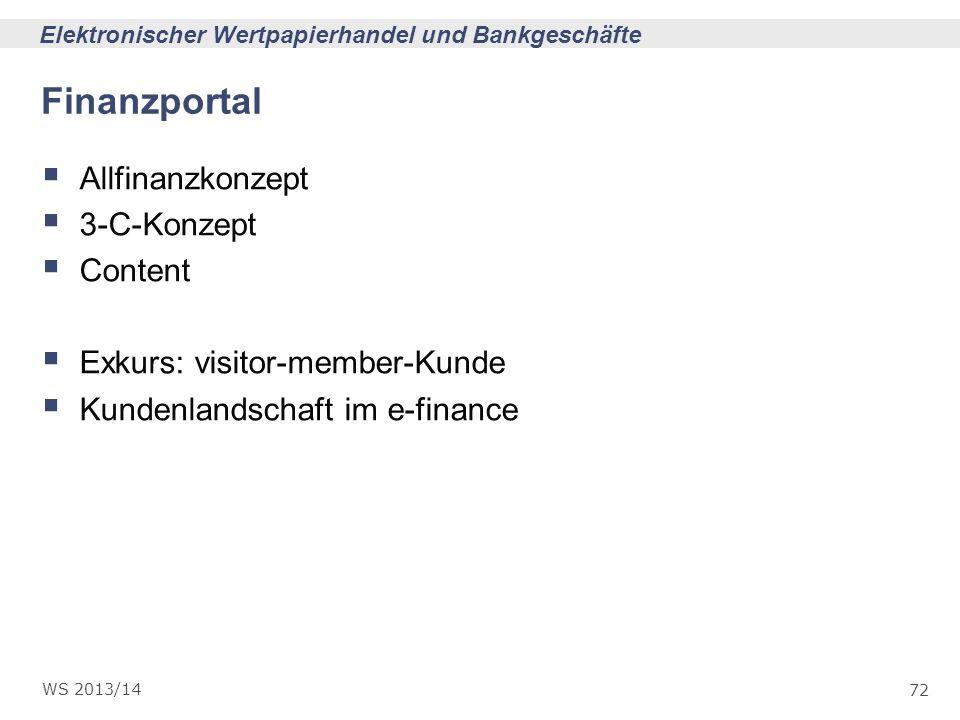 72 Elektronischer Wertpapierhandel und Bankgeschäfte WS 2013/14 Finanzportal Allfinanzkonzept 3-C-Konzept Content Exkurs: visitor-member-Kunde Kundenl
