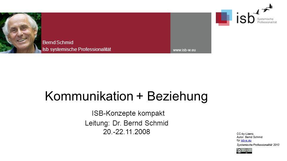 CC-by-Lizenz, Autor: Bernd Schmid für isb-w.euisb-w.eu Systemische Professionalität 2013 www.isb-w.eu Kommunikation + Beziehung ISB-Konzepte kompakt Leitung: Dr.