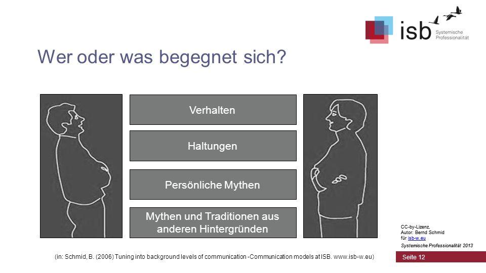 CC-by-Lizenz, Autor: Bernd Schmid für isb-w.euisb-w.eu Systemische Professionalität 2013 Seite 12 Wer oder was begegnet sich? (in: Schmid, B. (2006) T