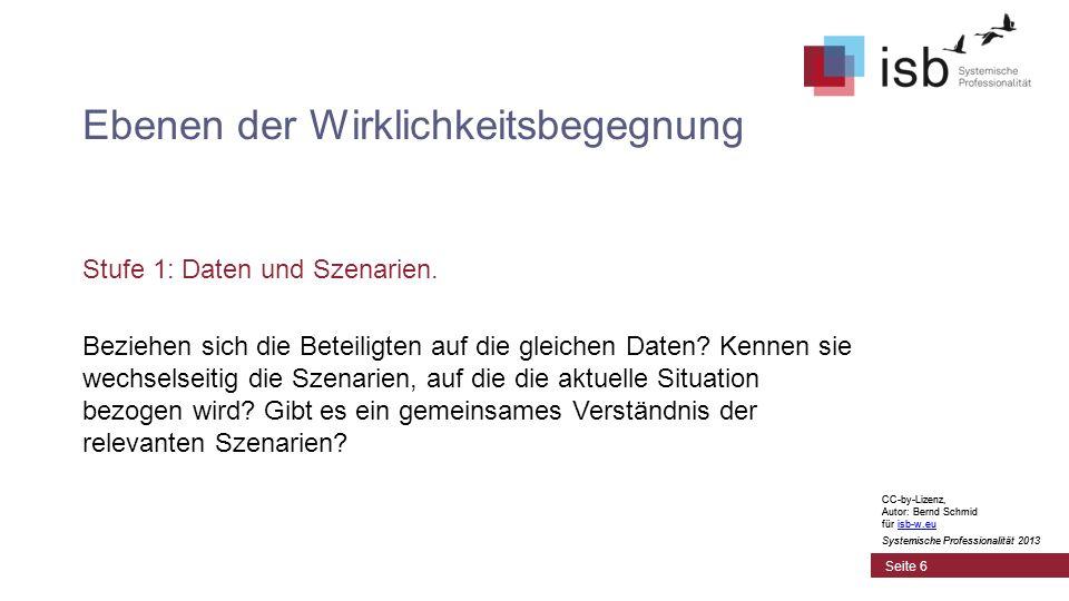 CC-by-Lizenz, Autor: Bernd Schmid für isb-w.euisb-w.eu Systemische Professionalität 2013 Seite 6 Ebenen der Wirklichkeitsbegegnung Stufe 1: Daten und Szenarien.