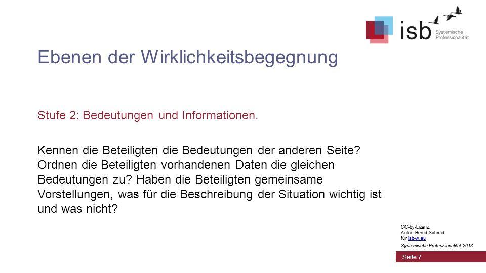 CC-by-Lizenz, Autor: Bernd Schmid für isb-w.euisb-w.eu Systemische Professionalität 2013 Seite 7 Ebenen der Wirklichkeitsbegegnung Stufe 2: Bedeutungen und Informationen.