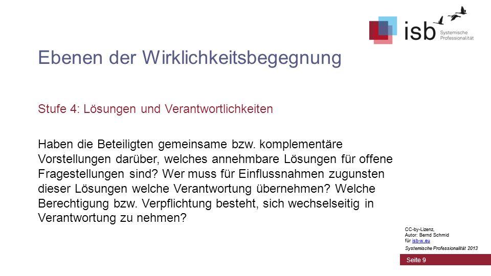 CC-by-Lizenz, Autor: Bernd Schmid für isb-w.euisb-w.eu Systemische Professionalität 2013 Seite 9 Ebenen der Wirklichkeitsbegegnung Stufe 4: Lösungen und Verantwortlichkeiten Haben die Beteiligten gemeinsame bzw.