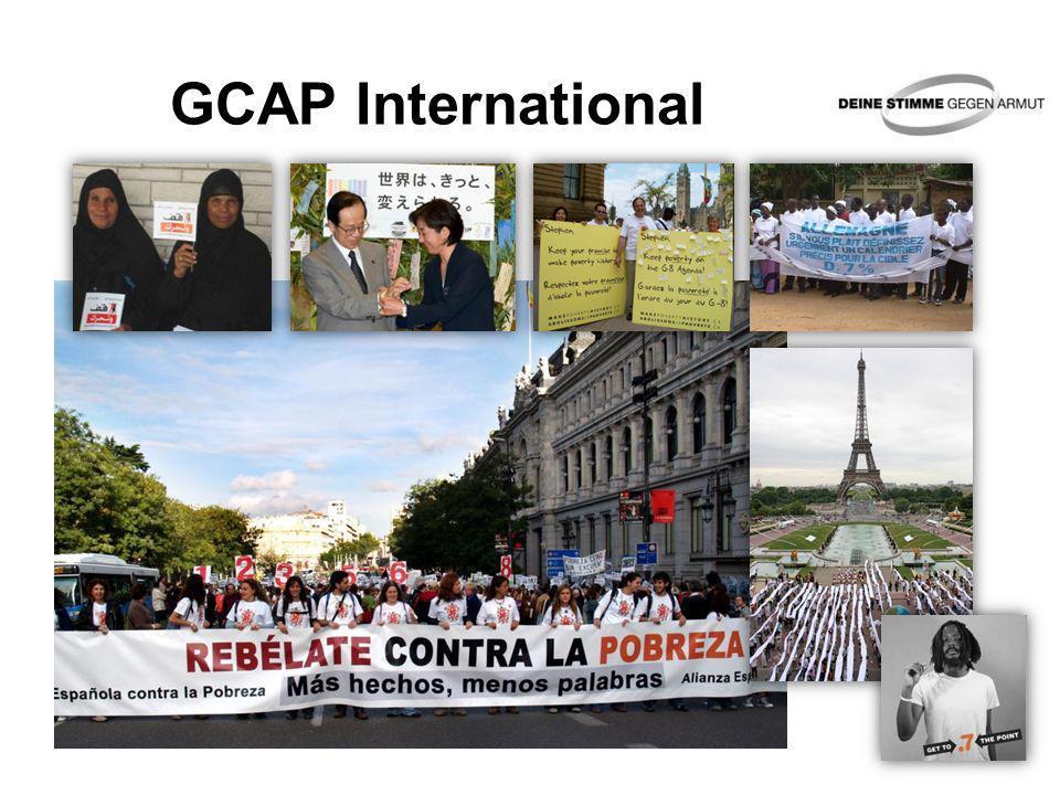 Die Ziele der Aktion Mehr Engagement bei der Bekämpfung der weltweiten Armut Mehr Engagement zur Erreichung der Millenniumsentwicklungsziele (MDG) Durch öffentliche Aufmerksamkeit (Mobilisierung) und politischen Druck (Lobbyarbeit)